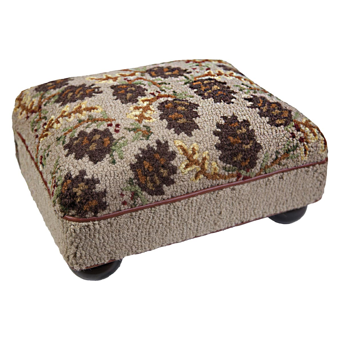 Black Forest Decor Cones northwoods hooked top footstool