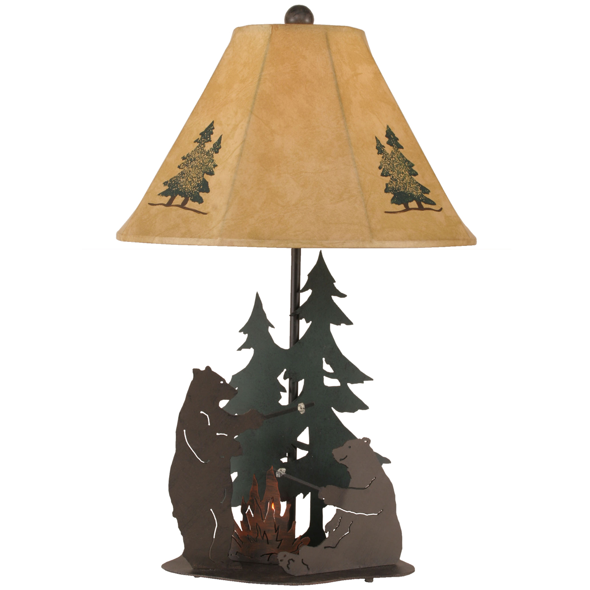 Black Forest Decor Cozy camping bears table lamp with nig...