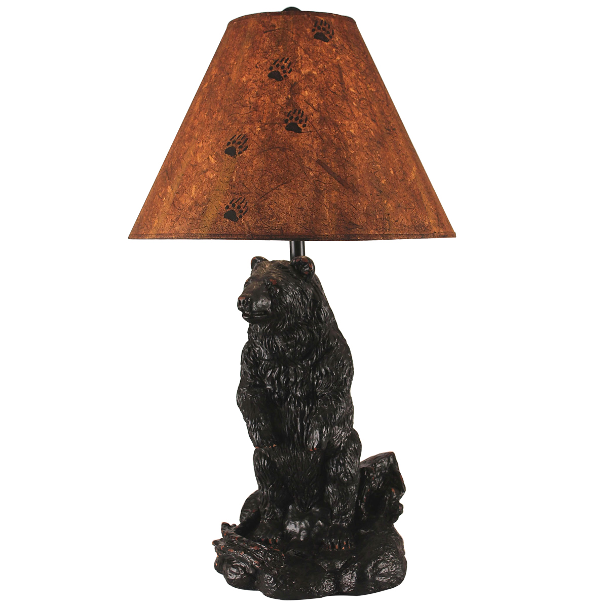 Black Forest Decor Curious bear table lamp with bear paw ...