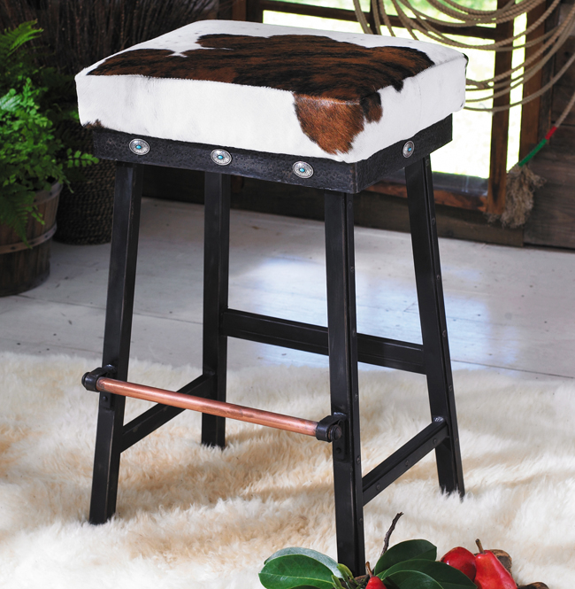 Black Forest Decor Cowhide iron barstool w/ turquoise con...