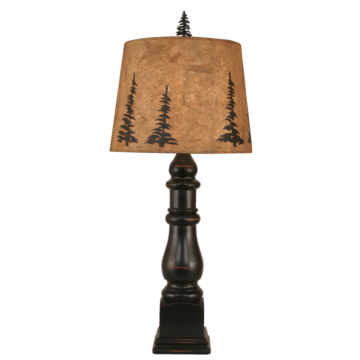 Black Forest Decor Distressed black post table lamp with ...