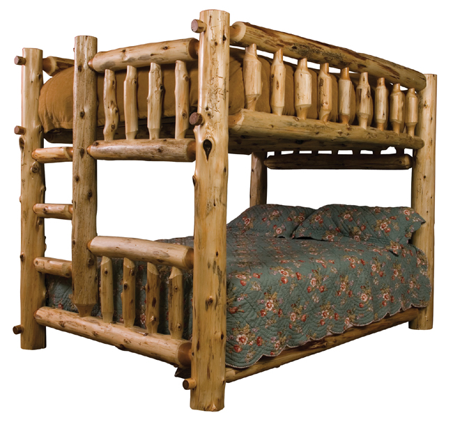Log Bunk Bed FullQueen Ladder Left
