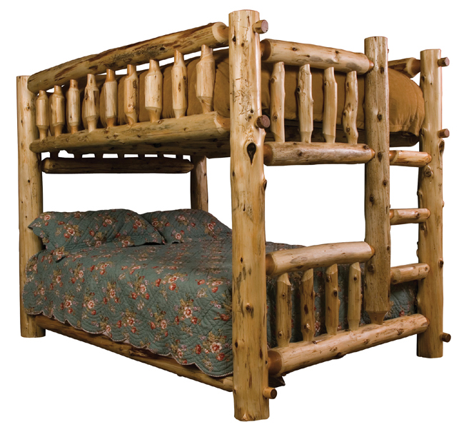 Black Forest Decor Full/queen (ladder right) log bunk bed