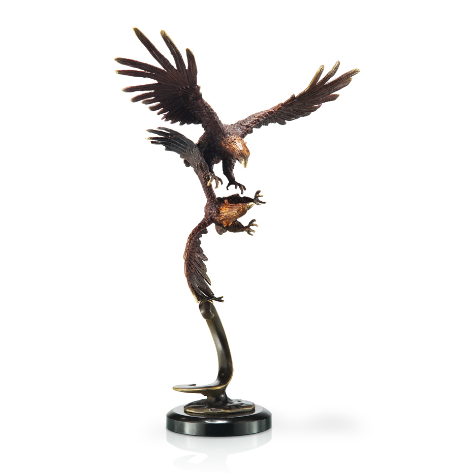 Black Forest Decor Double flying eagles statue