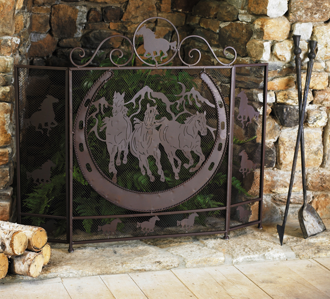 Black Forest Decor Running horses fireplace screen