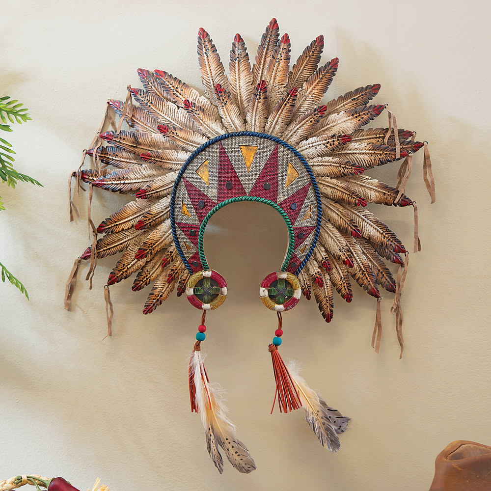 Black Forest Decor Feathered headdress wall art