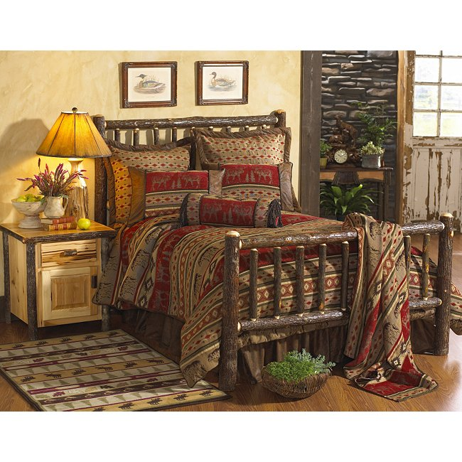 Black Forest Decor Hickory traditional log bed - twin