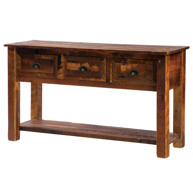 Black Forest Decor Barnwood 3 drawer console table