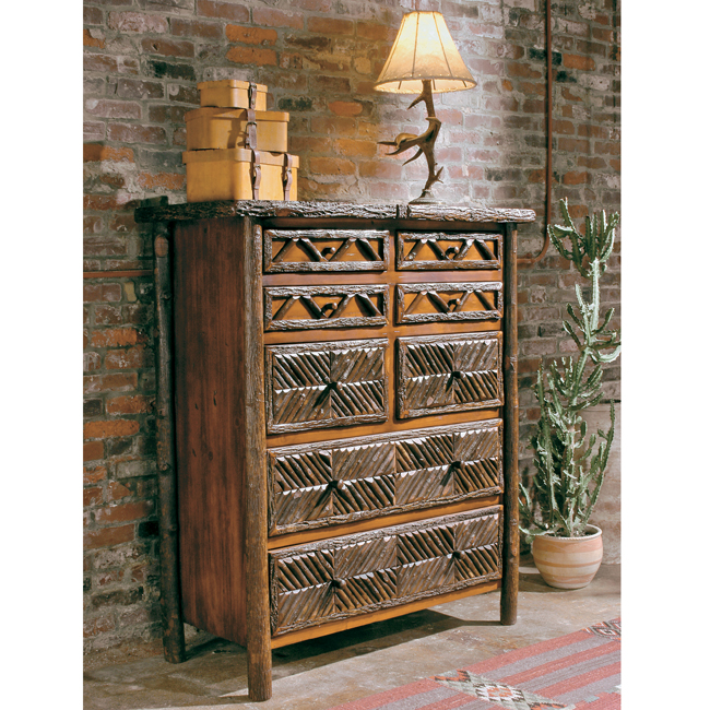 Black Forest Decor Black forest mosaic eight drawer chest