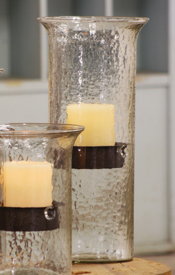 Black Forest Decor Glass candle cylinder with rustic inse...