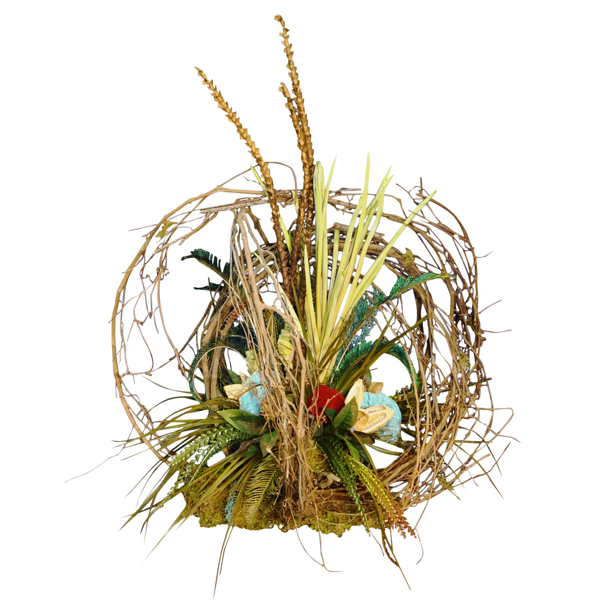 Black Forest Decor Grapevine and pod centerpiece with red...