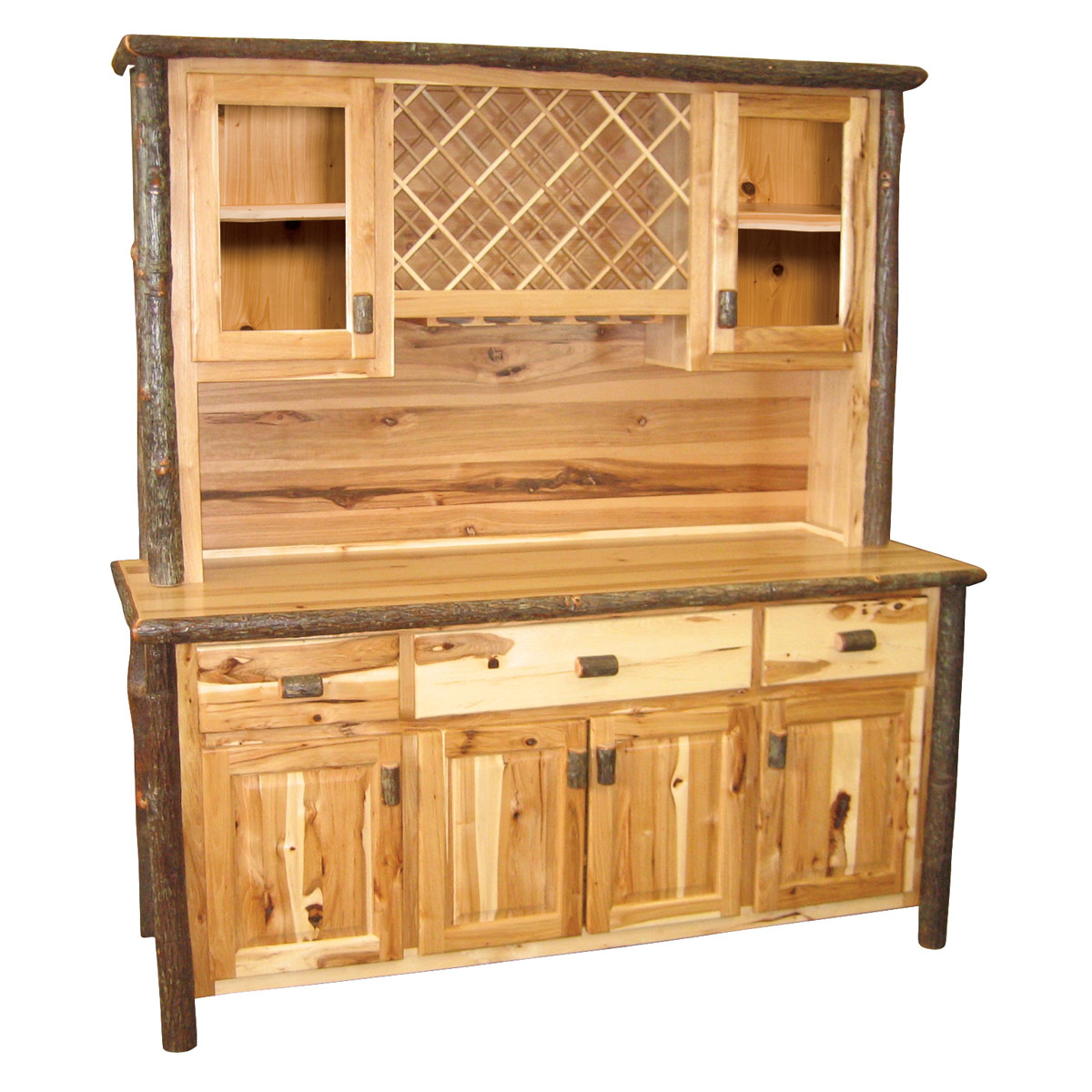 Black Forest Decor Hickory buffet & hutch with wine rack ...