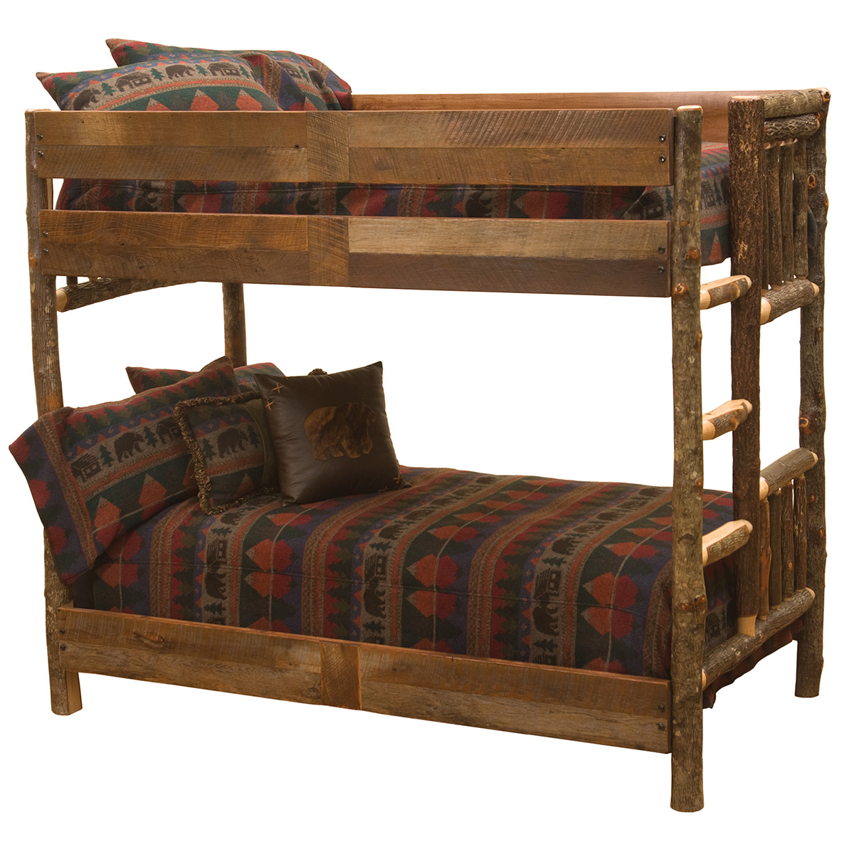 Black Forest Decor Hickory full/full bunk bed with barnwo...