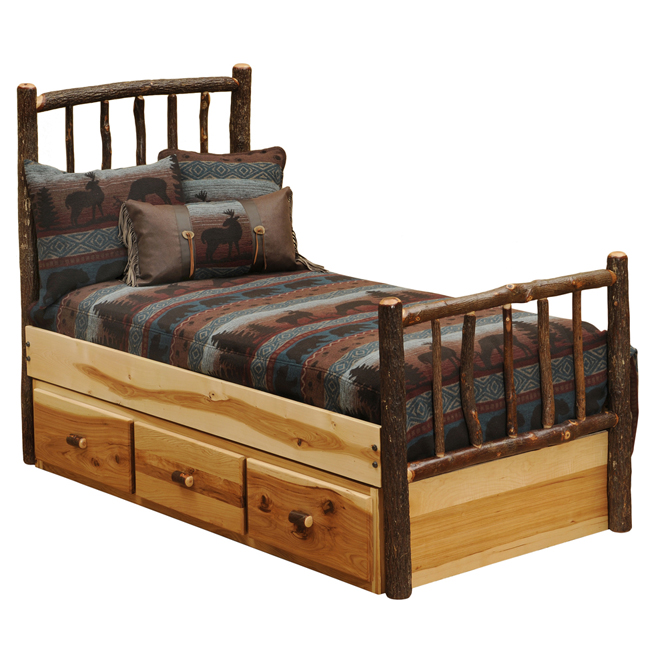 Black Forest Decor Hickory traditional log bed with under...