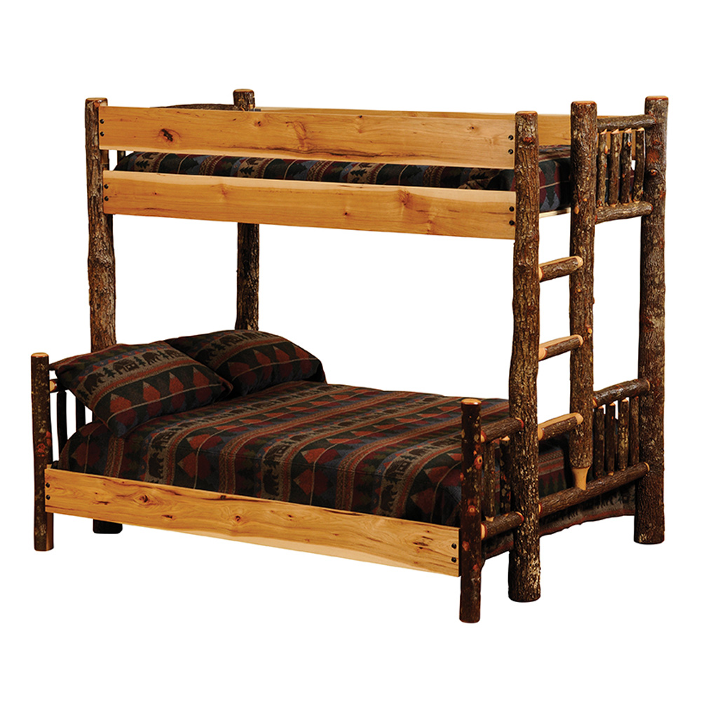 Black Forest Decor Hickory twin/queen bunk bed - ladder r...