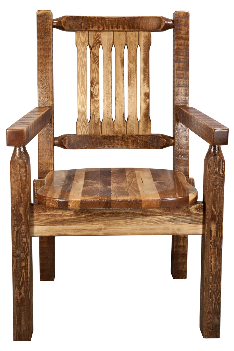 Black Forest Decor Homestead captain's chair - stained an...