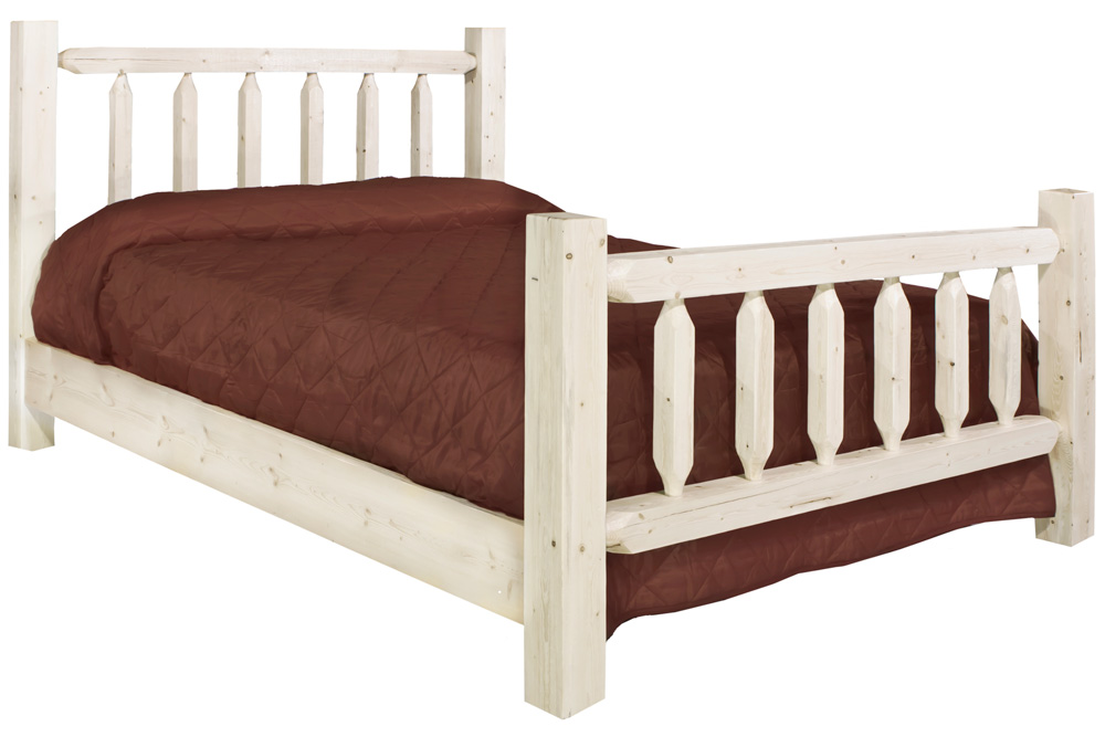 Homestead Queen Log Bed - Lacquered