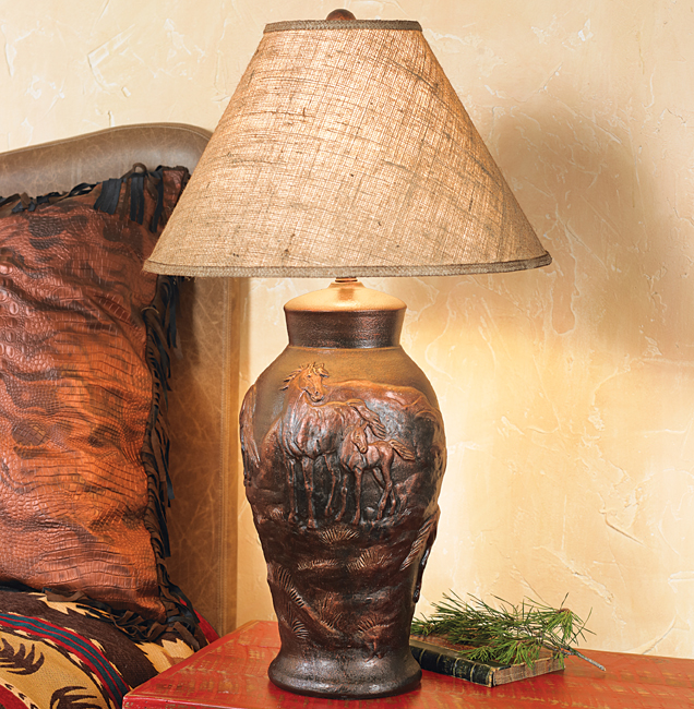 Black Forest Decor Horse pottery lamp with burlap shade