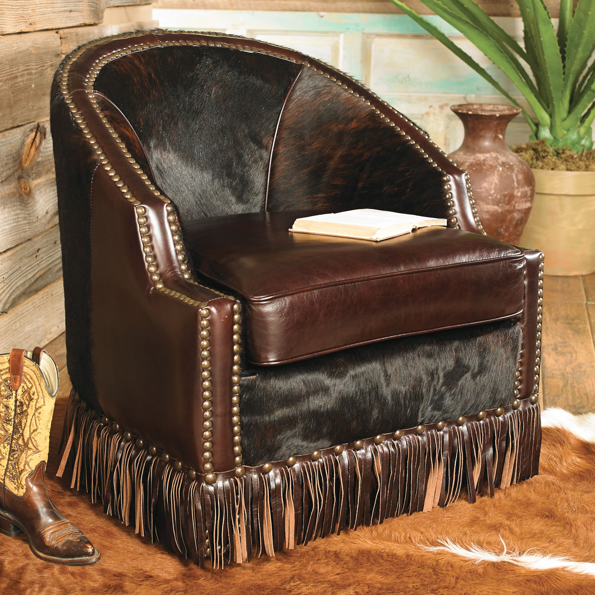 Black Forest Decor Houston cowhide leather chair