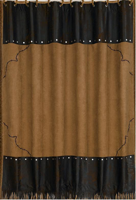 Black Forest Decor Embroidered barbwire shower curtain