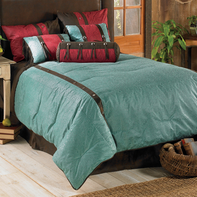 Black Forest Decor Cheyenne turquoise bed set - super queen