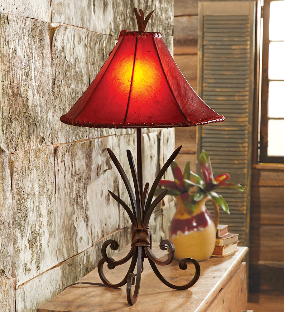 Black Forest Decor Iron agave table lamp with rawhide shade