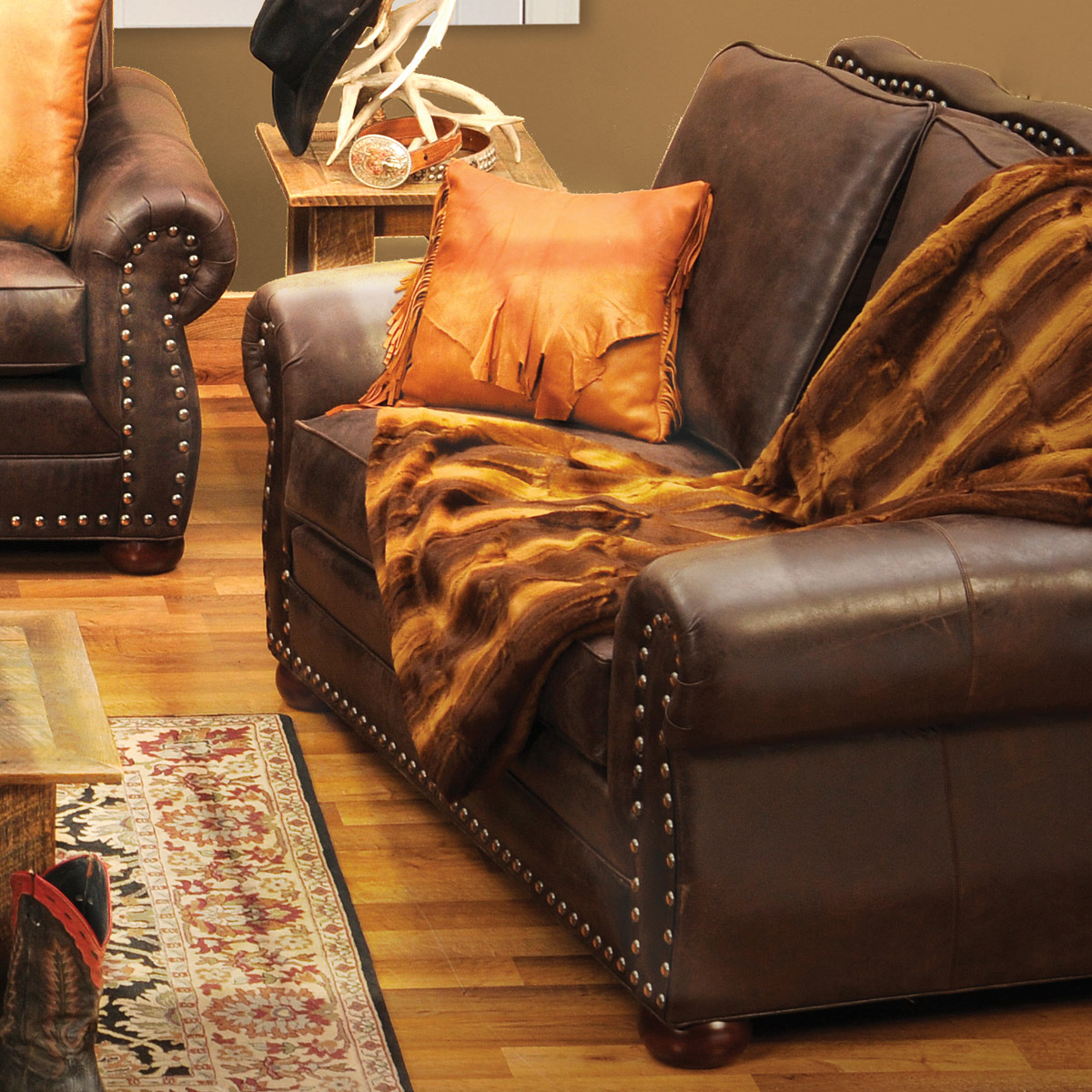 Black Forest Decor Jerome davis loveseat in timber leather