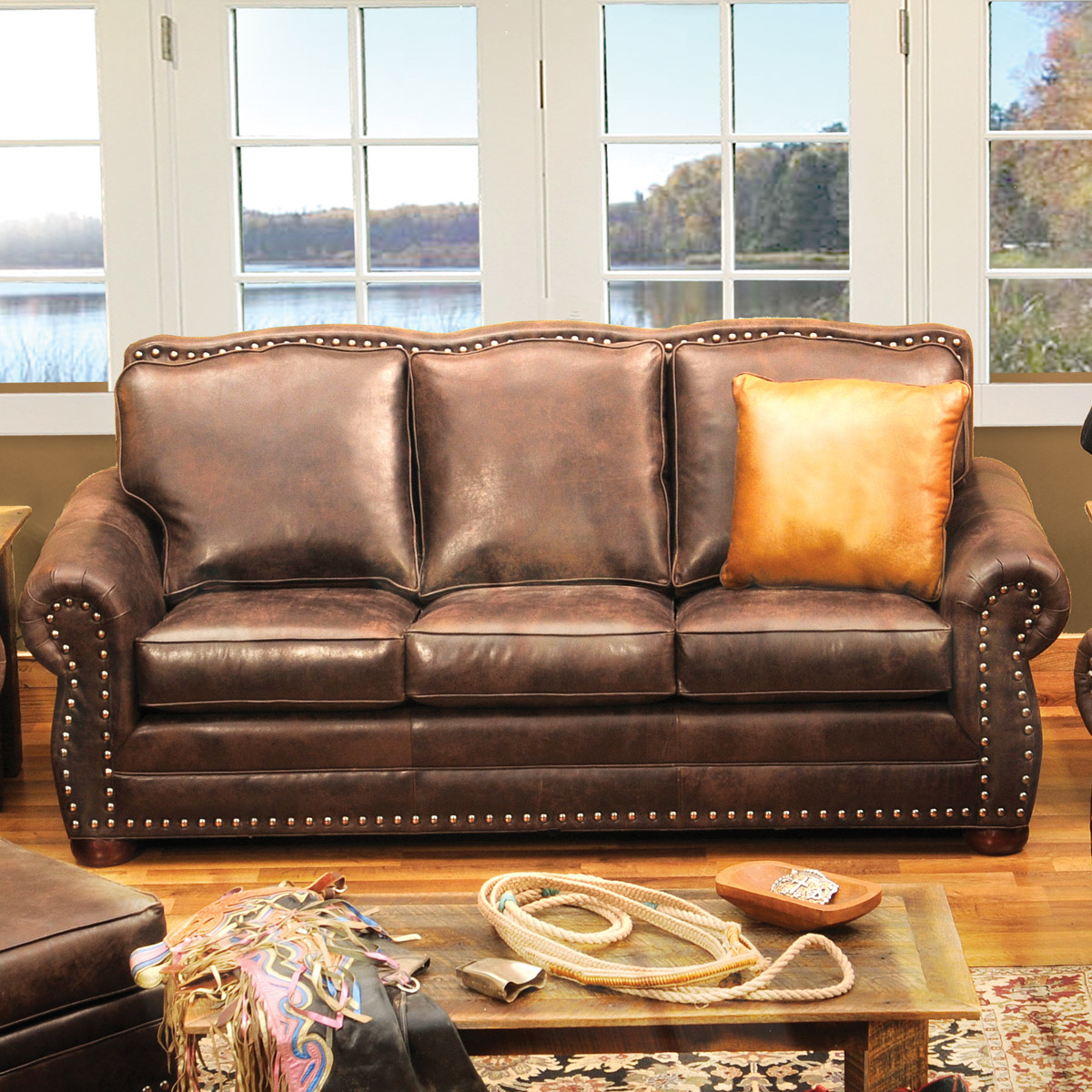 Black Forest Decor Jerome davis sofa in timber leather