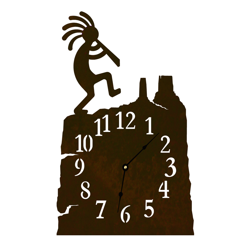 Black Forest Decor Kokopelli table clock - rust
