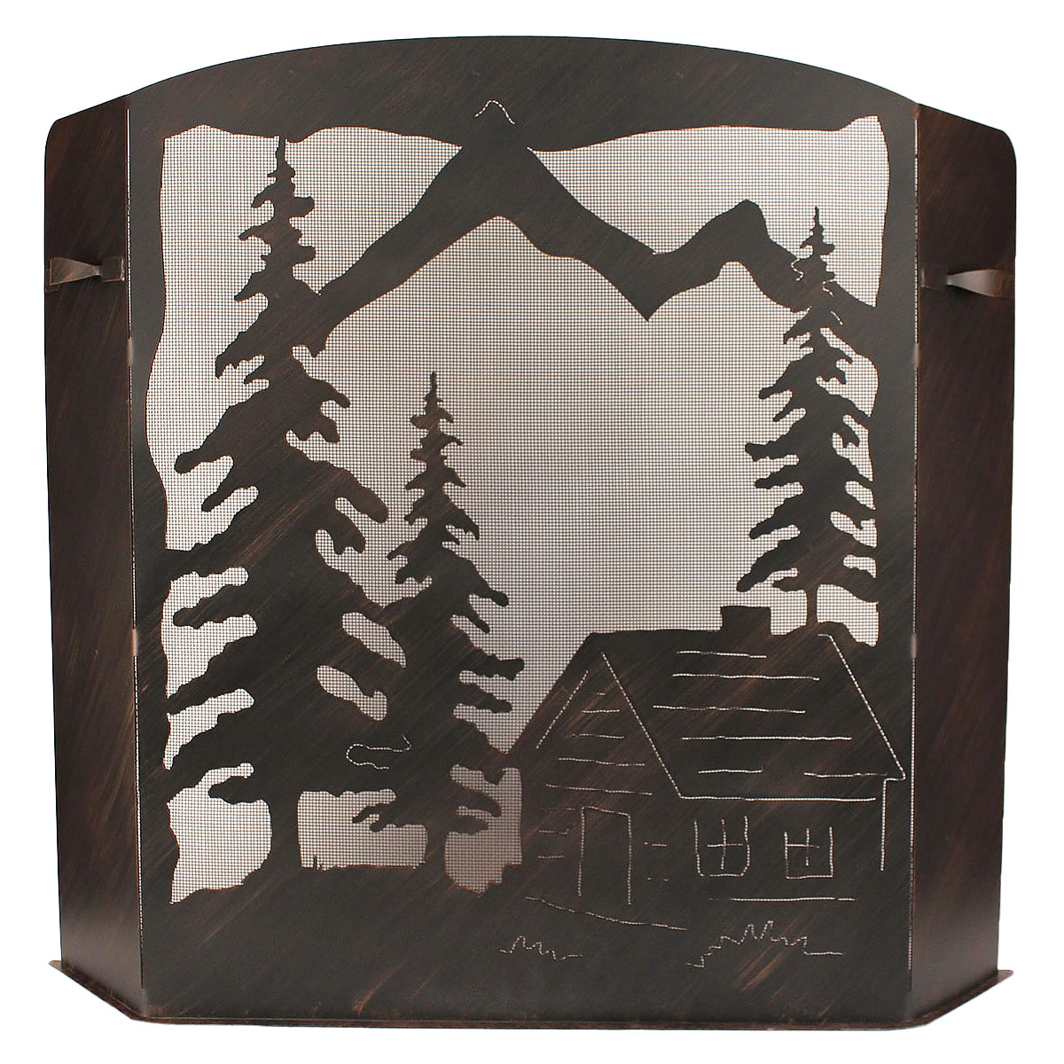 Black Forest Decor Large cabin scene fireplace screen