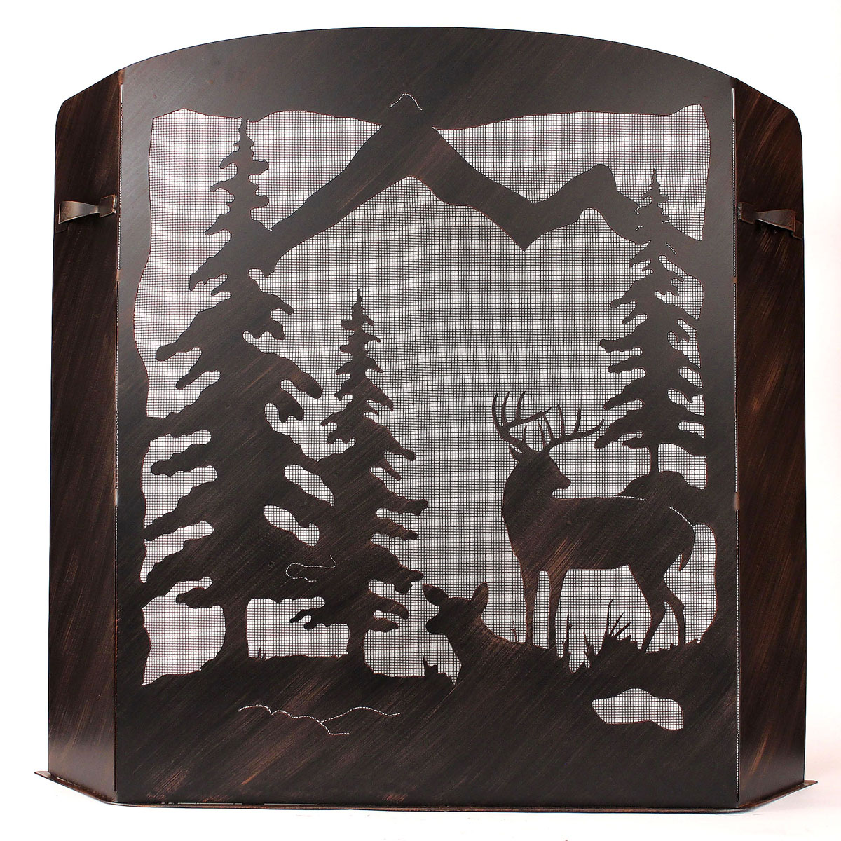 Black Forest Decor Large deer scene fireplace screen
