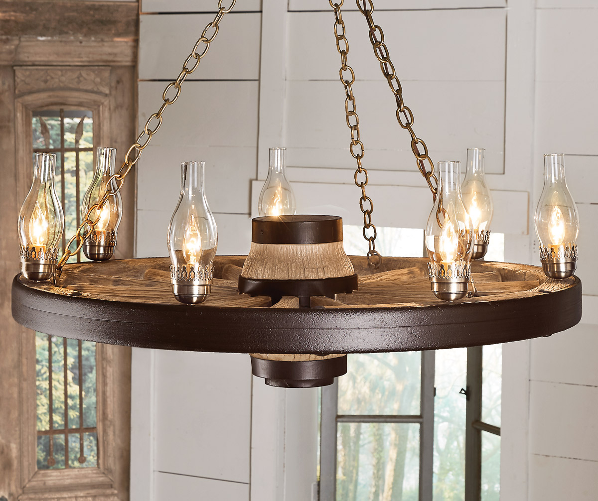 Black Forest Decor Large wagon wheel chandelier