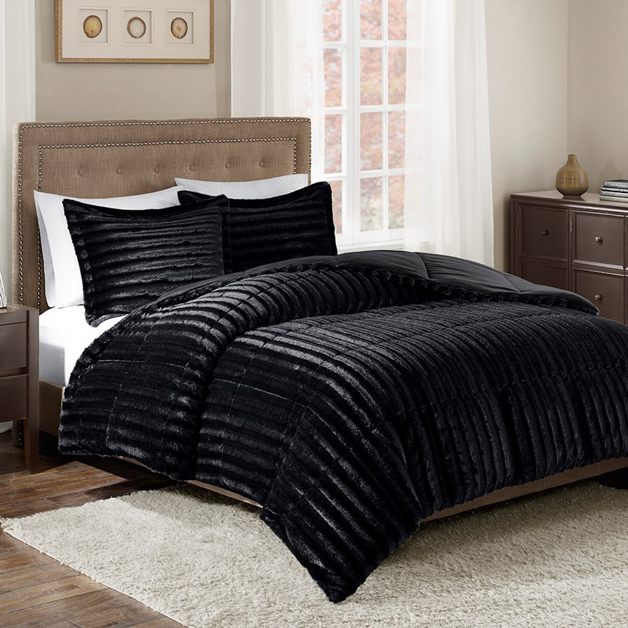 Black Forest Decor Logan black faux fur comforter set - king