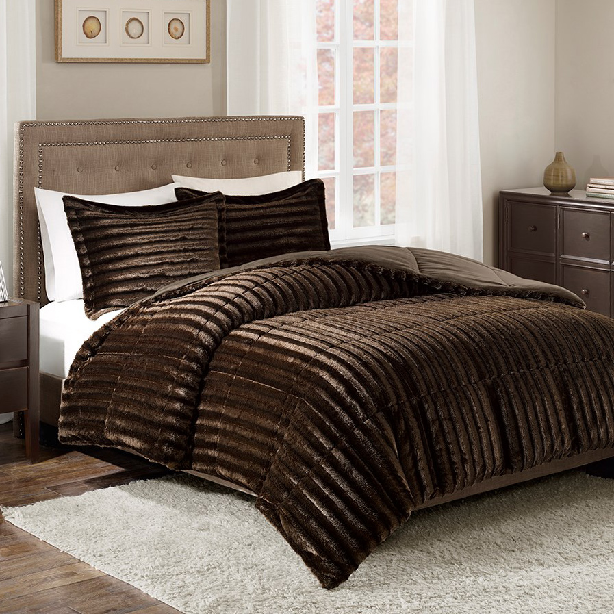 Black Forest Decor Logan chocolate faux fur comforter set...