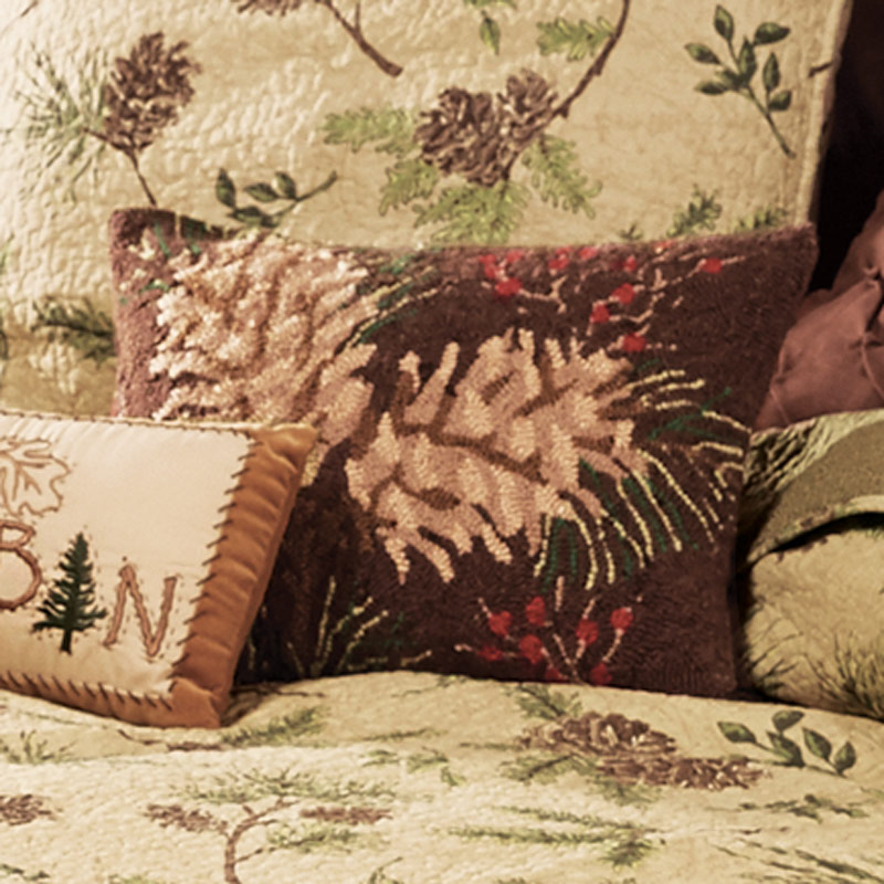 Black Forest Decor Lookout mountain pinecone hooked pillow