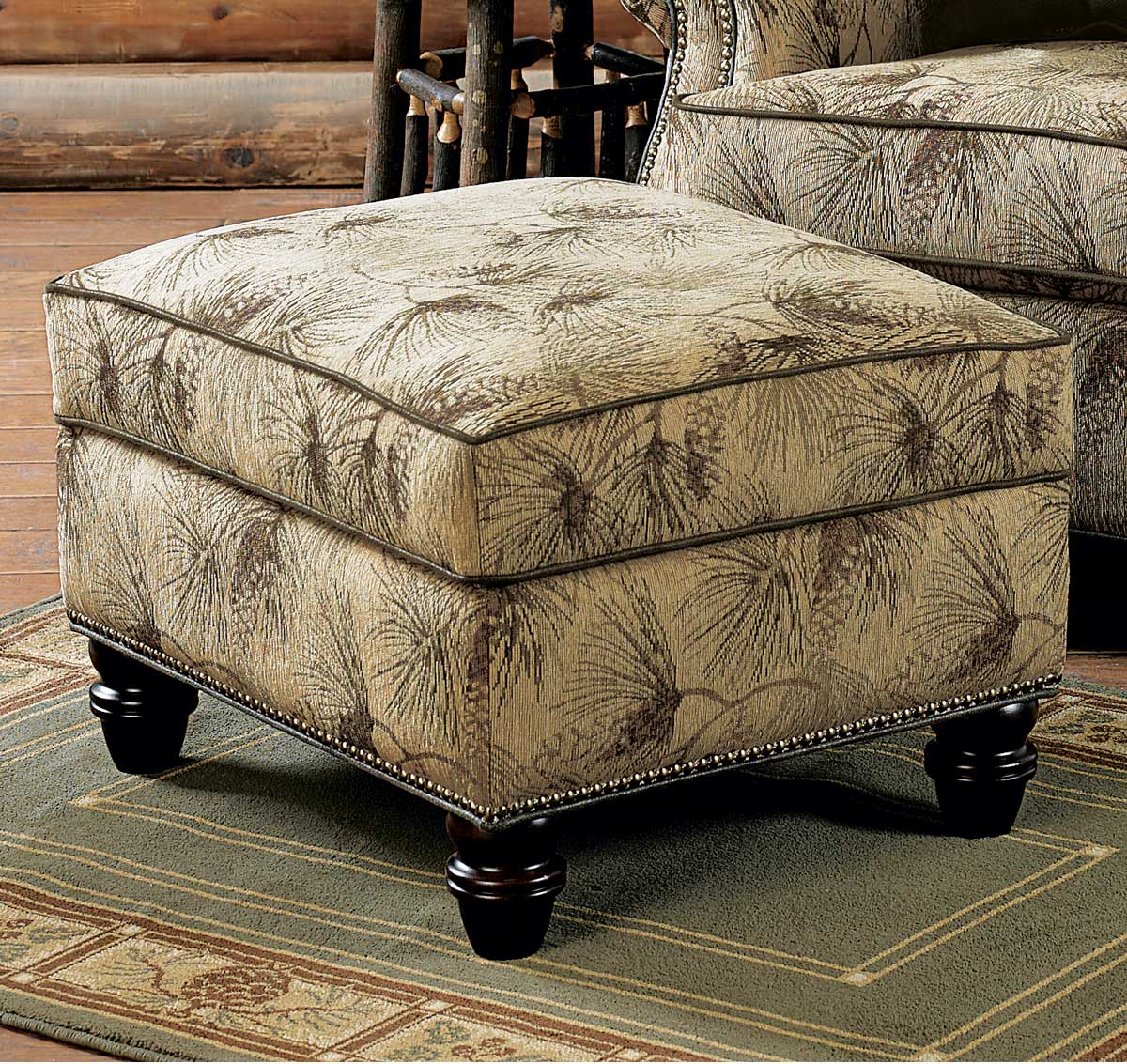 Black Forest Decor Pinecone dusk storage ottoman