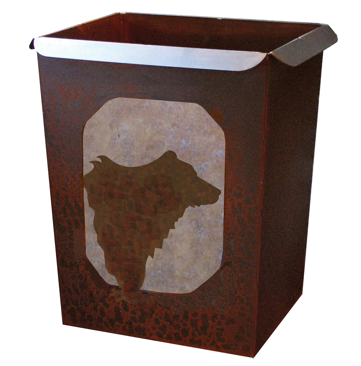 Black Forest Decor Metal art bear waste basket