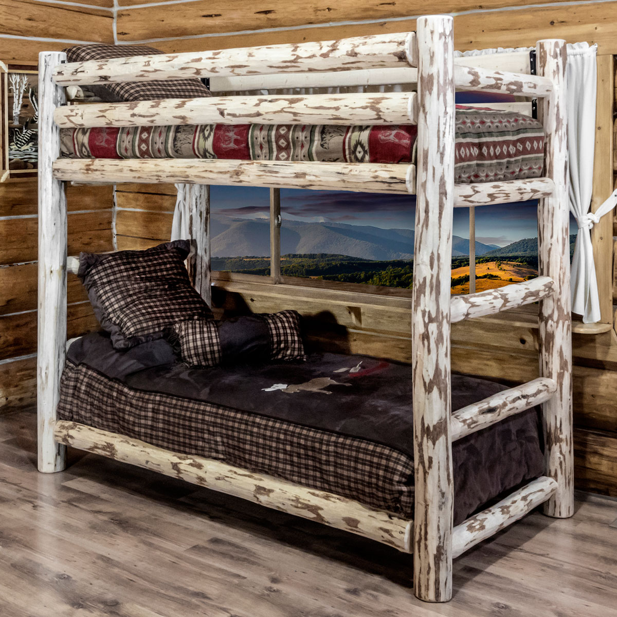 Unfinished Hand Peeled Rustic Log Bunk Bed   Twin