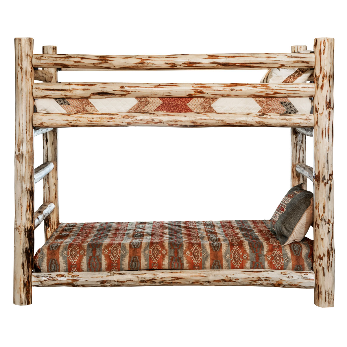 Log Beds Lacquer Finish Hand Peeled Rustic Twin Size Log Bunk Bed