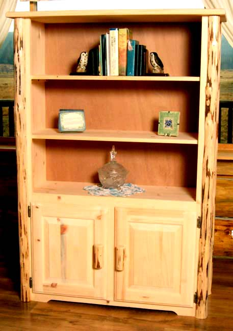 Black Forest Decor Unfinished hand-peeled rustic bookcase