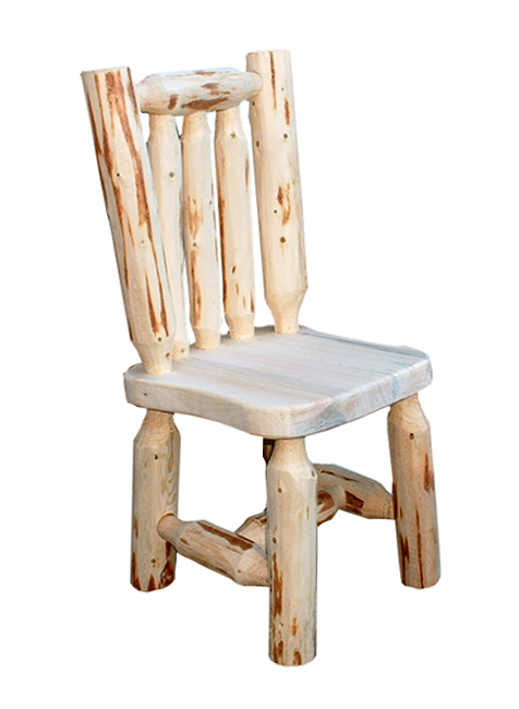 Black Forest Decor Unfinished hand-peeled child's log chair