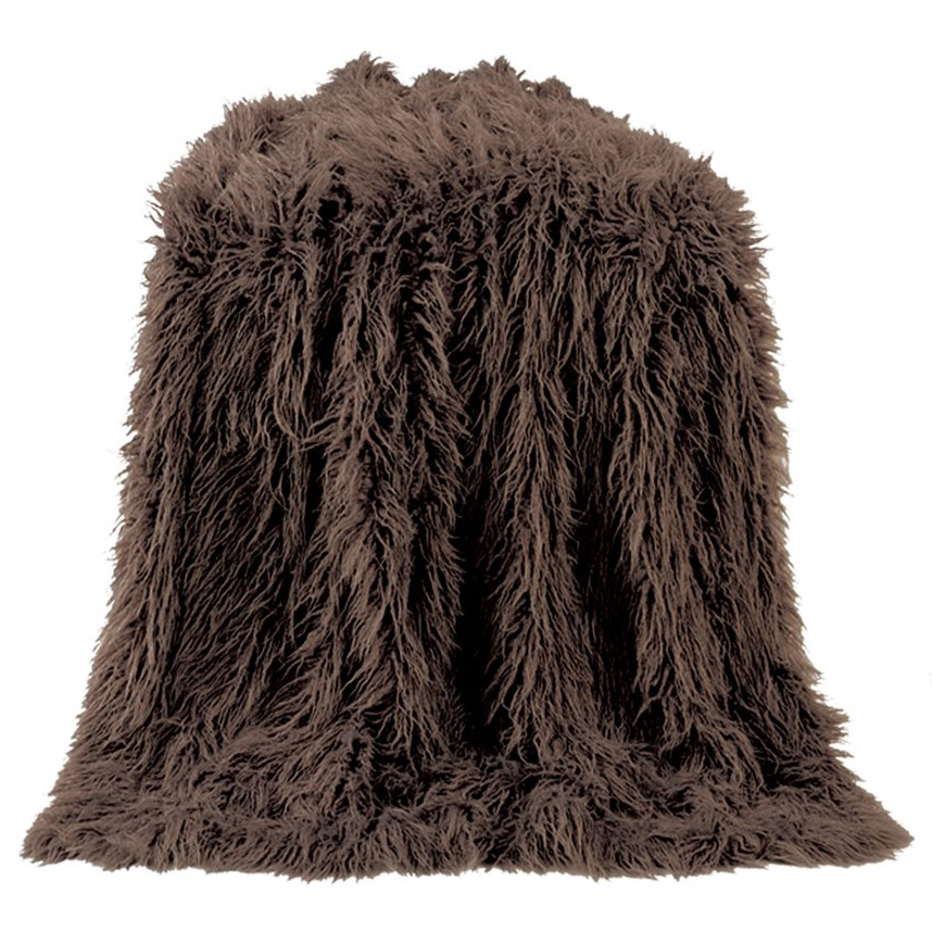 Black Forest Decor Mongolian chocolate faux fur throw