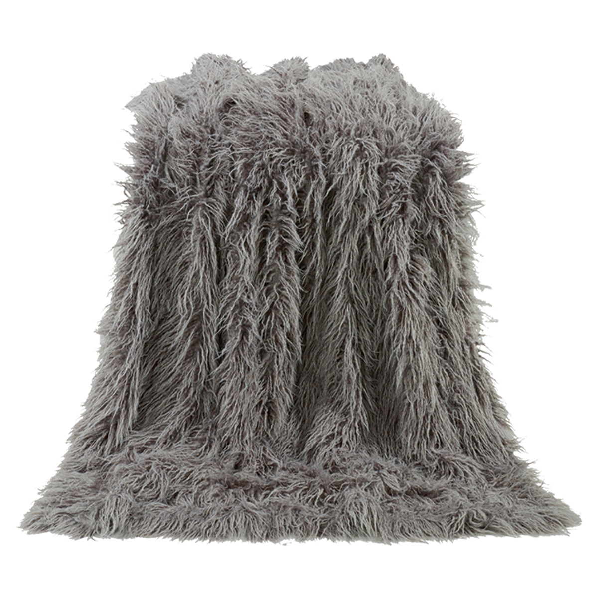 Black Forest Decor Mongolian gray faux fur throw - overstock