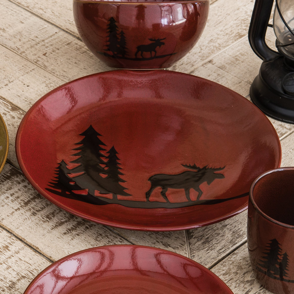 Black Forest Decor Moose lodge stoneware dinner plate