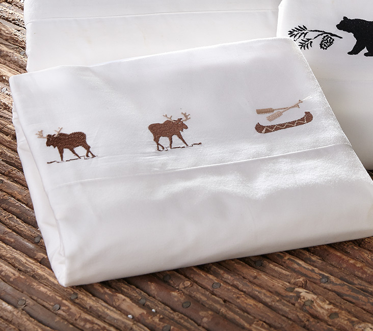 Black Forest Decor Moose and canoe embroidered sheet set ...