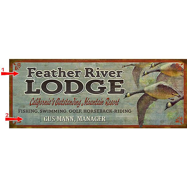 Black Forest Decor Geese lodge sign - 14 x 36