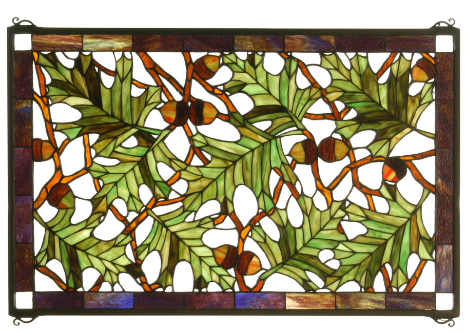 Black Forest Decor Tall oak stained glass window