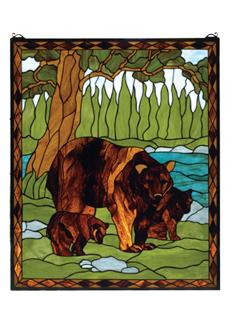 Black Forest Decor Bear and cubs spring woods stained gla...