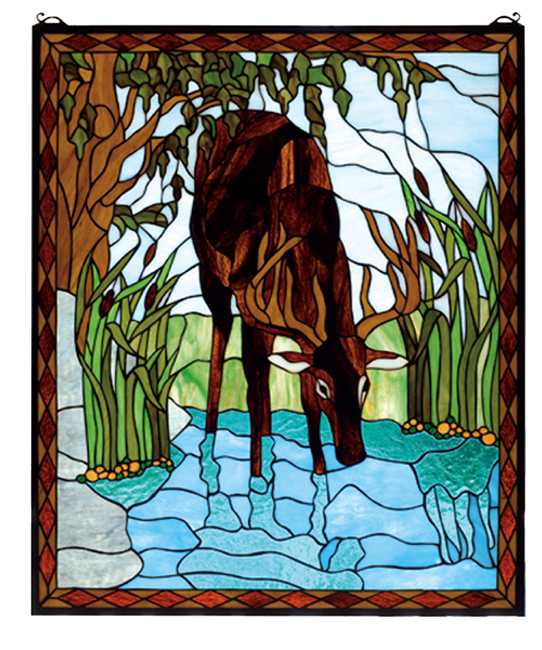 Black Forest Decor Deer in the river stained glass window