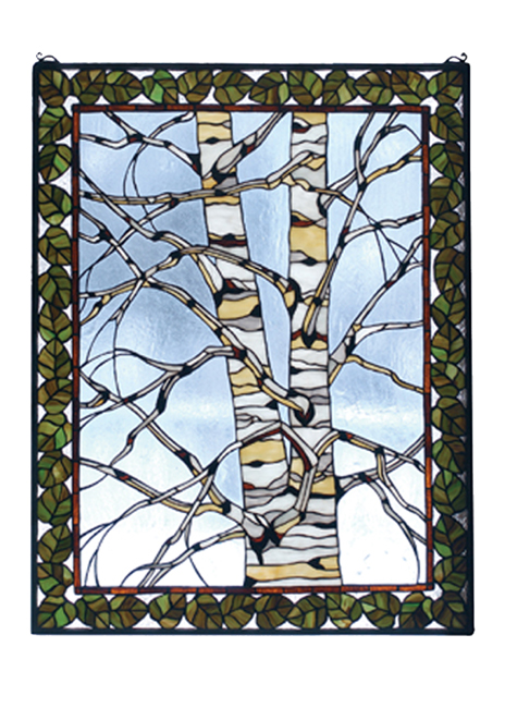 Black Forest Decor Birch tree in winter stained glass win...